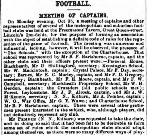 Formation of the Football Association