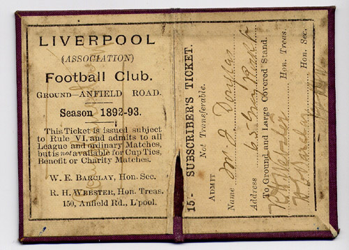 1892 Season ticket - inside