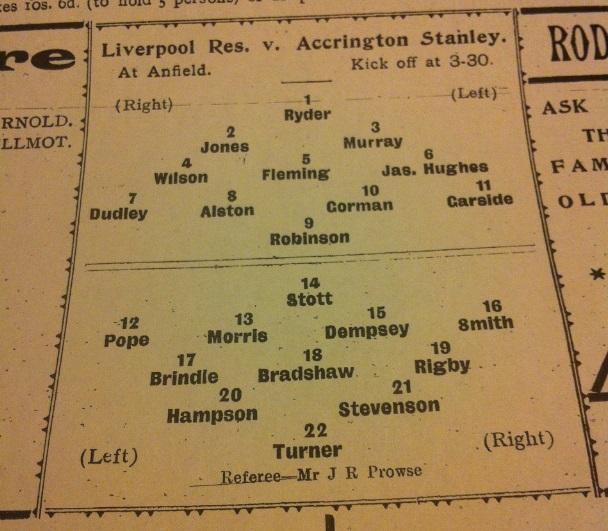 LFC Res Accrington Stanley 1905