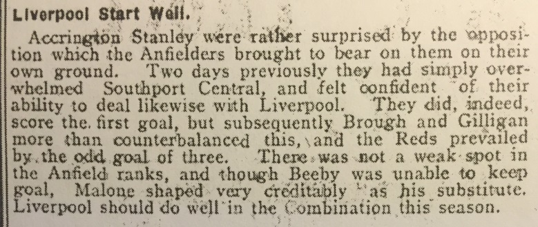 1910 Accrington Stanley v LFC Res