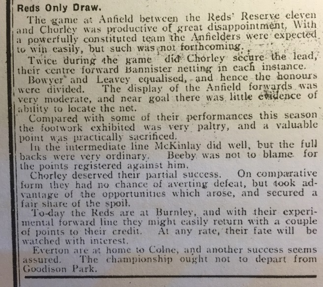 1910 LFC Res v Chorley