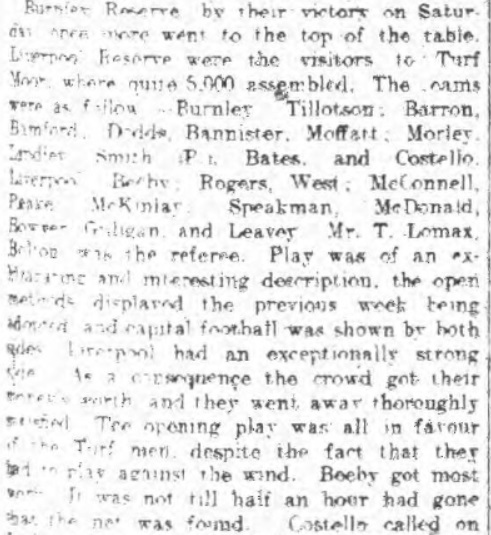Burnley Reserves v Liverpool Reserves at Turf Moor, October 28 - 1910, from Burnley Express.