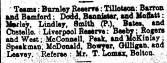 Line ups for Burnley Reserves vs Liverpool Reserves, October 28 - 1910, from Burnley Gazette.