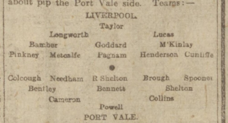 1916 Liverpool v Port Vale preview