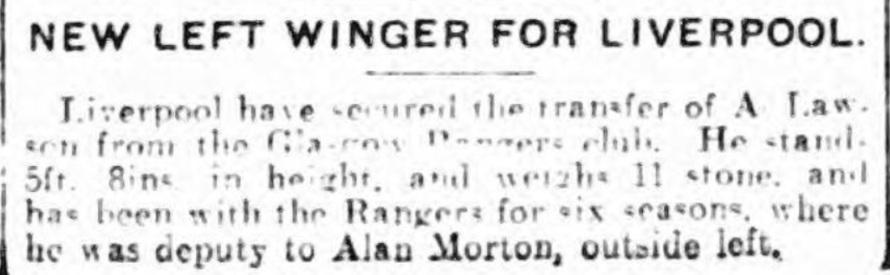 Hector Lawson Liverpool 1924 Rangers