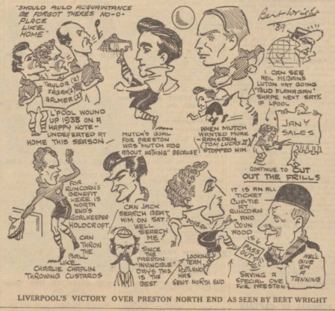 1938 LFC v PNE sketch evening express