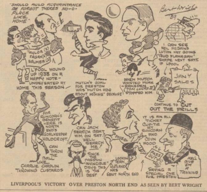 1938 LFC v PNE sketch evening express