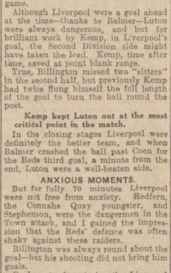 1939 LFC v Luton Evening Experss match report 2