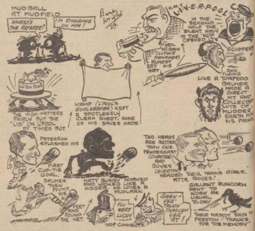 1939 LFC v Luton sketch Evening Express