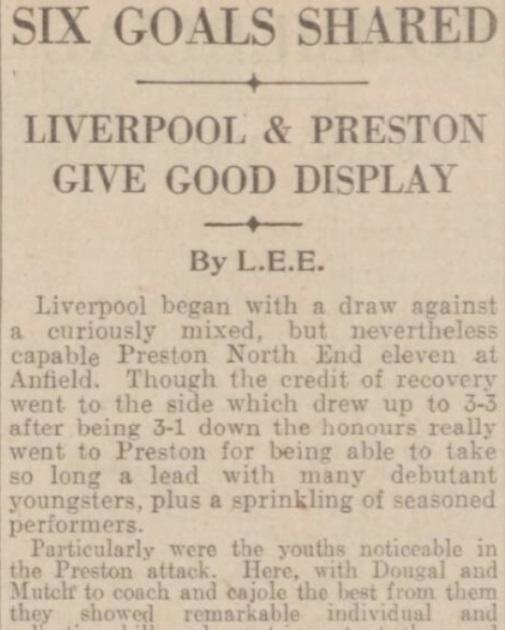 1940 Liverpool v Preston North End Daily Post 1