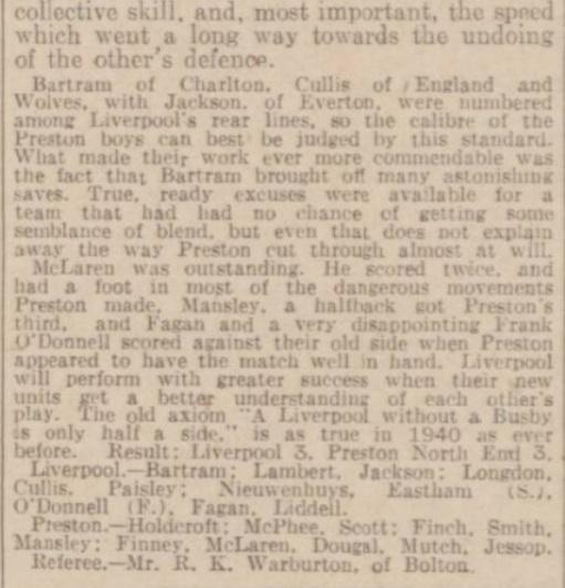 1940 Liverpool v Preston North End Daily Post 2