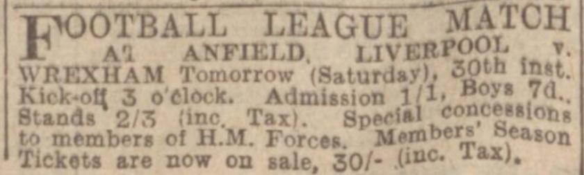 1941 Match ad vs Wrexham Anfield