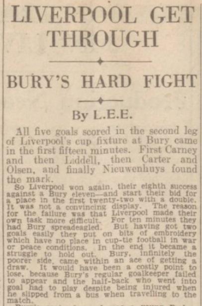 1942 Bury v LFC January 4