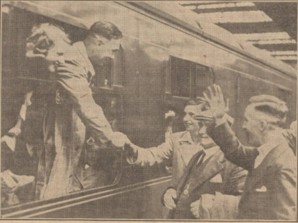 Gordon Hodgson and his wife waving goodbye to friends at Dundee West Station.