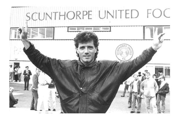 Kevin Keegan outside Scunthorpe United Football ground.