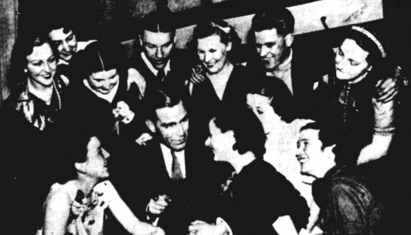 Preston North End, club dance in 1938, after the cup final. Captain Tom Smith in front with Bill Shankly and Bobby Beattie back.