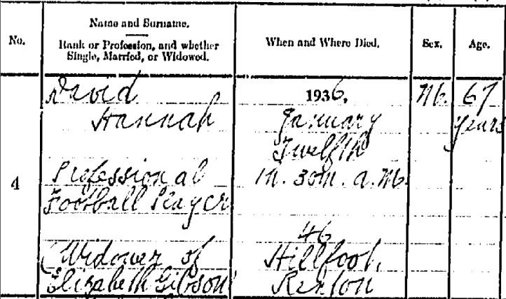 David Hannah 1936 death certificate I