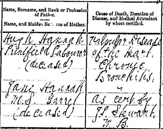 David Hannah 1936 death certificate II