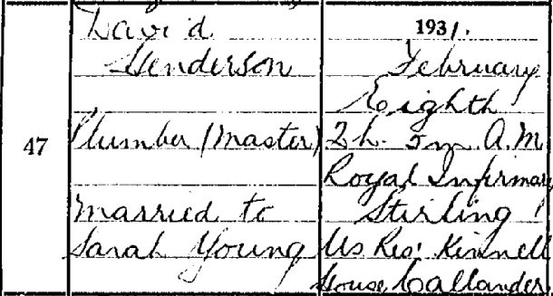 David Henderson death certificate I