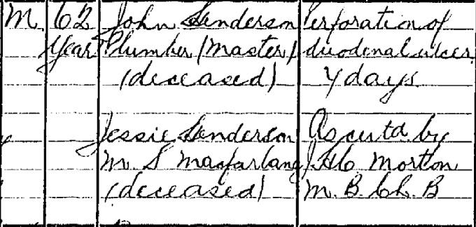 David Henderson death certificate II