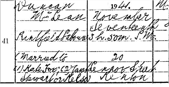 Duncan McLean Death certificate part I