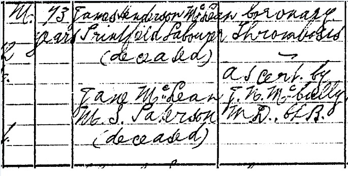 Duncan McLean Death certificate part II