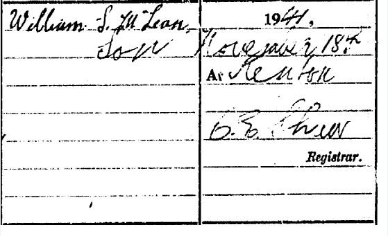 Duncan McLean Death certificate part III