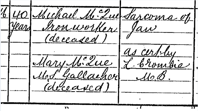 Joe McQue Death certificate part II