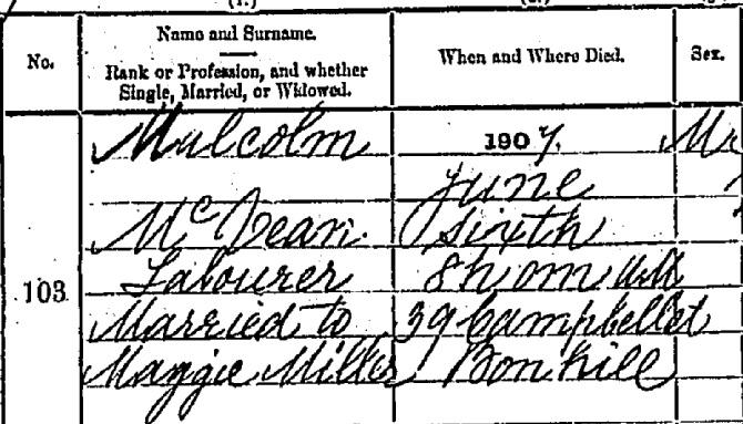 Malcolm McVean death certificate I