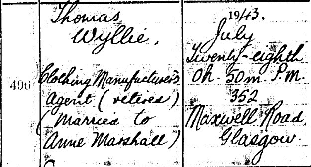Thomas Wyllie death certificate I