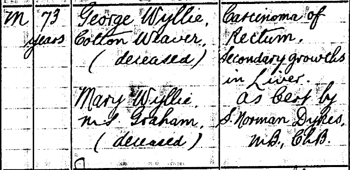 Thomas Wyllie death certificate II