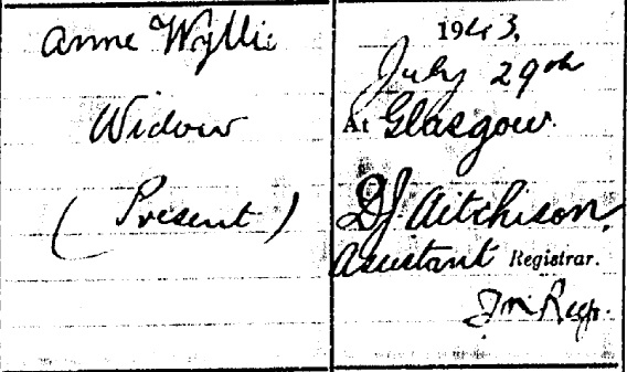 Thomas Wyllie death certificate III