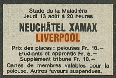 Neuchatel Xamax v LFC 1981 ad