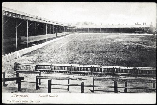 Probably one of the first ever pictures of Anfield, taken some time between 1903 and 1906. From The Kop, with the Main stand to the left.