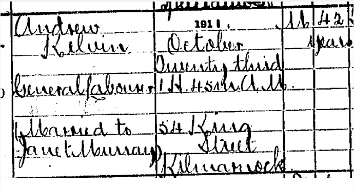 Andrew Kelvin Death certificate part I