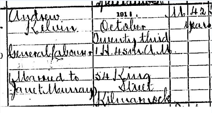 Andrew Kelvin Death certificate part I