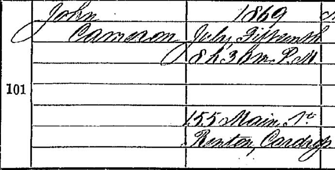 John Cameron birth certifcate I