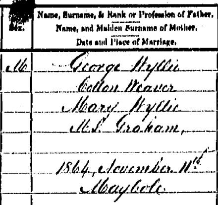 Thomas Wyllie birth certificate II