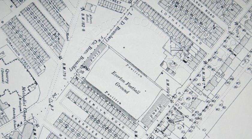 Ordnance Survey Map, 1890 showing Anfield as Everton's ground.