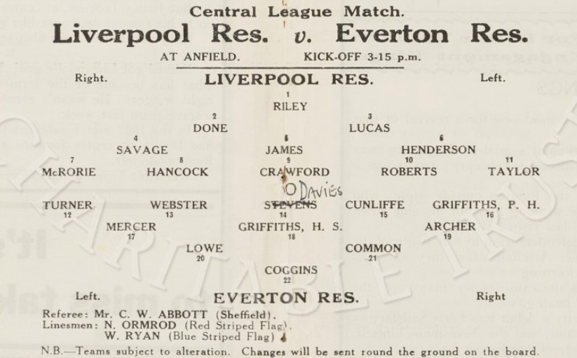 Liverpool Reserves 1 Oct 1932