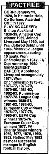 Bob Paisley factfile
