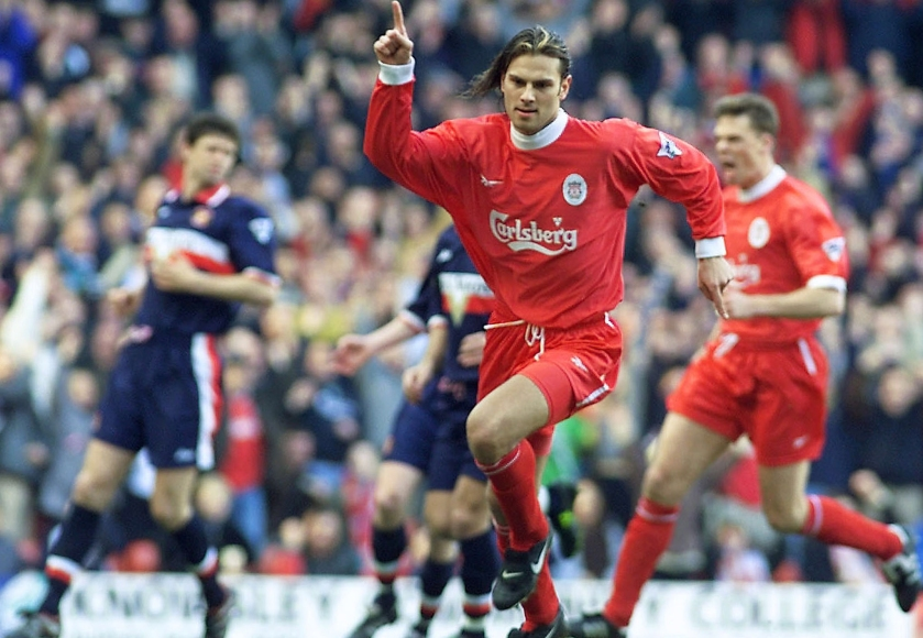 LIVERPOOL'S BERGER CELEBRATES AFTER HE SCORES FROM THE PENALTY SPOT AGAINST SUNDERLAND.