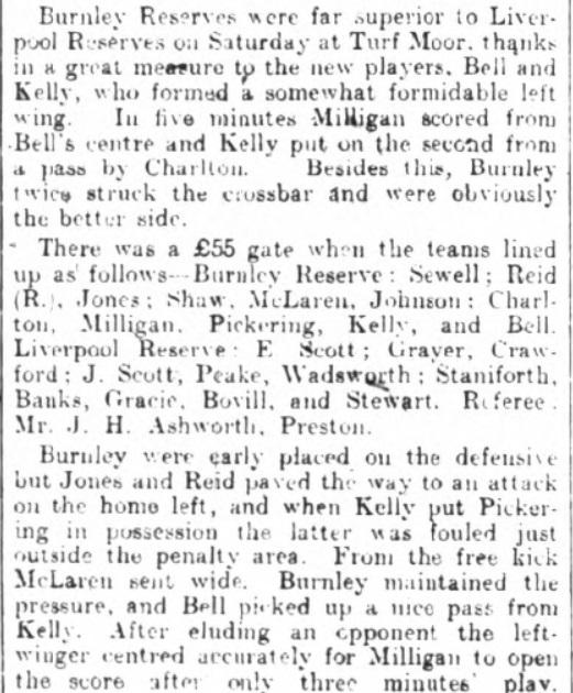 Burnley Reserves v Liverpool Reserves, 1913