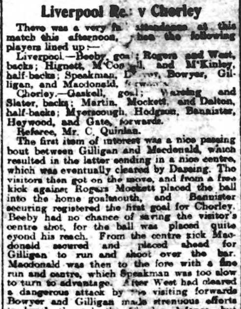 Liverpool Reserves v Chorley, 1910
