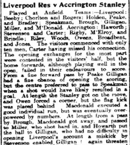 Liverpool Reserves v Accrington Stanley, Anfield, 1910