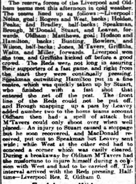 Liverpool Reserves v Oldham Athletic Reserves, Anfield, 1910.