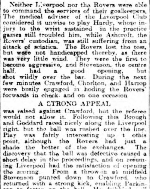 Blackburn ROvers v Liverpool, Ewood Park, 1910