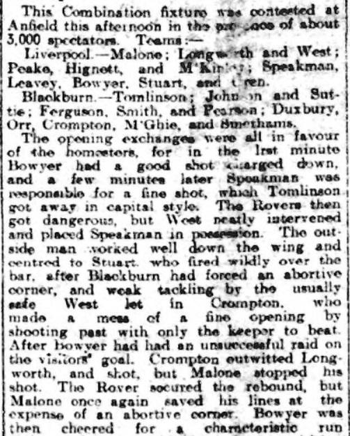 Liverpool Reserves v Blackburn Rovers Reserves, Anfield, 1910.