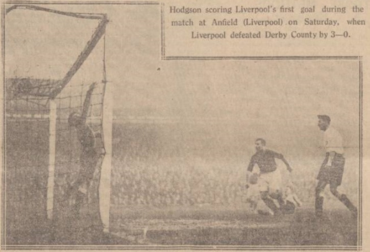 Gordon Hodgson scores against Derby County at Anfield in 1928.