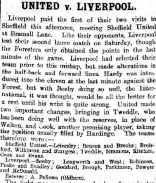 Sheffield United v Liverpool, Bramall Lane, 1910.
